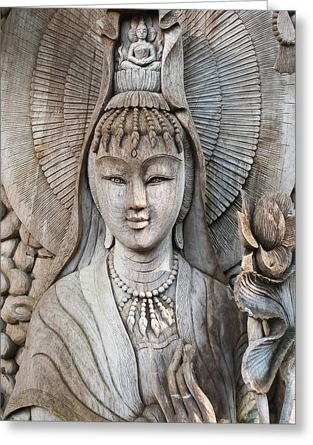 Icons Pyrography Greeting Cards - Kuan Yin  Greeting Card by Apatsara Sirirodchanapanya