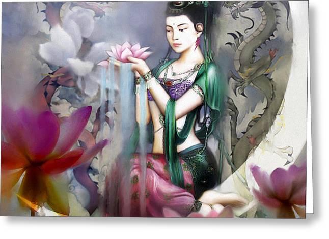 Kuan Yin Lotus of Healing Greeting Card by Stephen Lucas