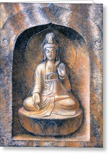 Kwan Yin Greeting Cards - Kuan Yin Meditating Greeting Card by Sue Halstenberg