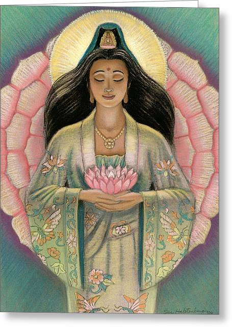 Goddess Print Greeting Cards - Kuan Yin Pink Lotus Heart Greeting Card by Sue Halstenberg