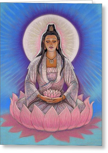 Feminine Pastels Greeting Cards - Kuan Yin Greeting Card by Sue Halstenberg
