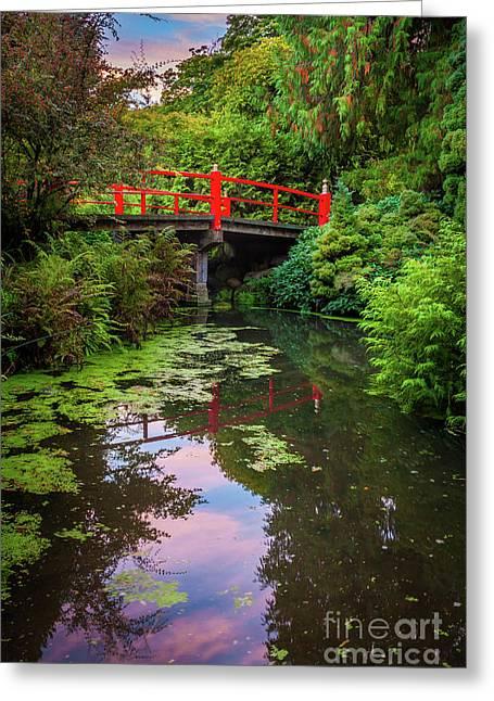 Kubota Gardens Bridge Number 1 Greeting Card by Inge Johnsson