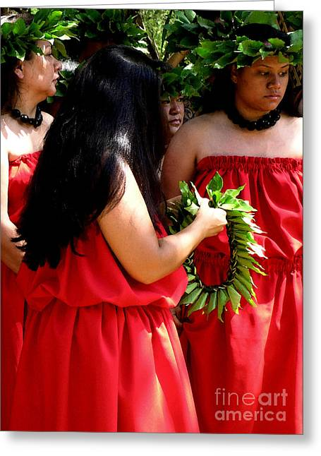Jim Temple Greeting Cards - Kukui Dancers Greeting Card by James Temple