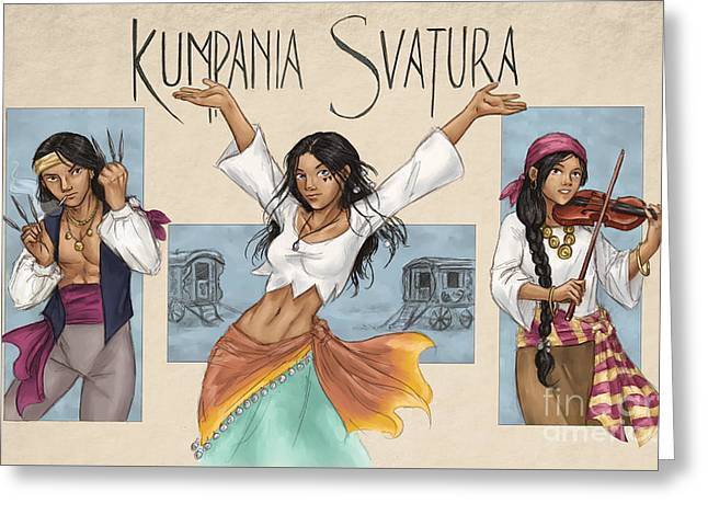 Photoshop Drawings Greeting Cards - Kumpania Svatura Greeting Card by Brandy Woods