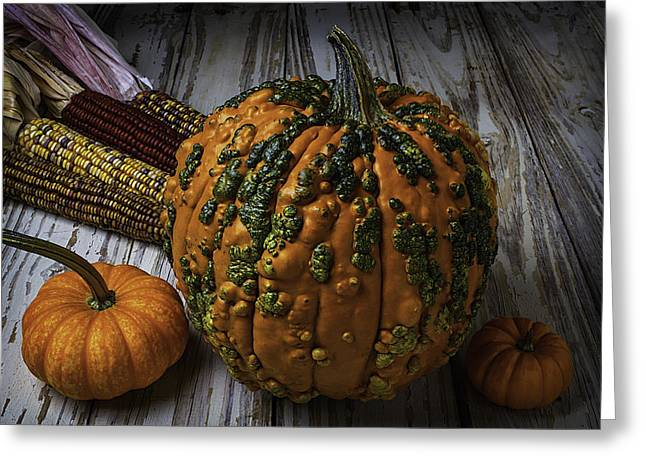 Mottled Greeting Cards - Kunklehead With Corn Greeting Card by Garry Gay