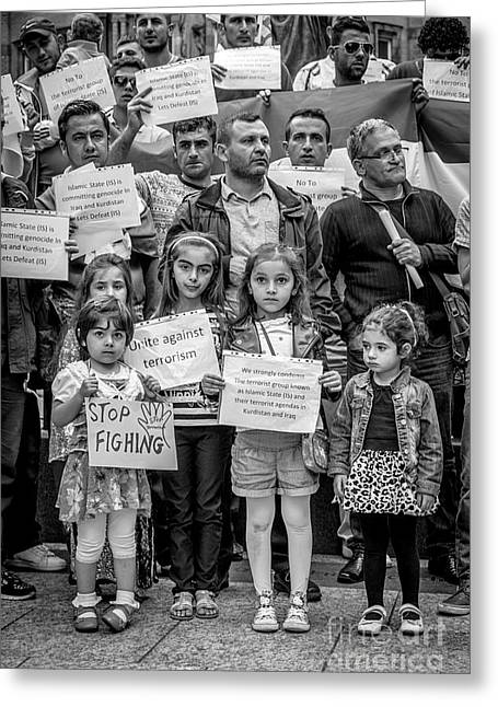 Iraq Prints Greeting Cards - Kurdish Community Protest Greeting Card by Ian  Francis