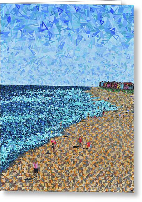 Abstract Beach Landscape Paintings Greeting Cards - Kure Beach - A View from the Pier Greeting Card by Micah Mullen