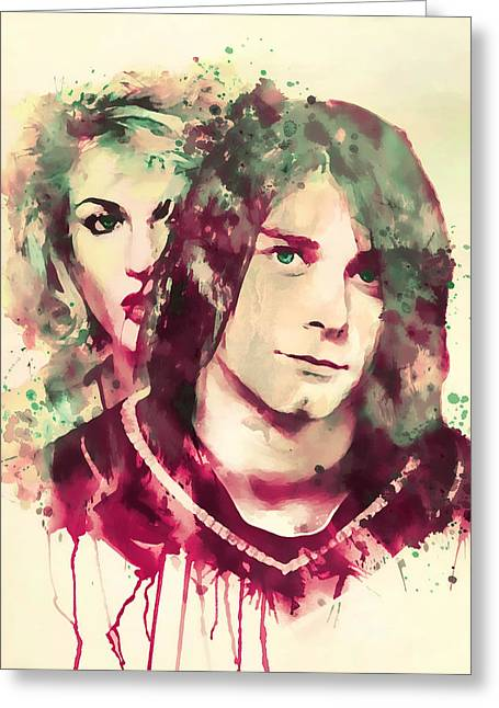 Man And Woman Greeting Cards - Kurt and Courtney Watercolor Greeting Card by Marian Voicu