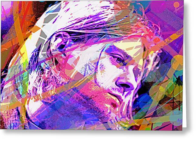 Famous Faces Greeting Cards - Kurt Cobain 27 Greeting Card by David Lloyd Glover