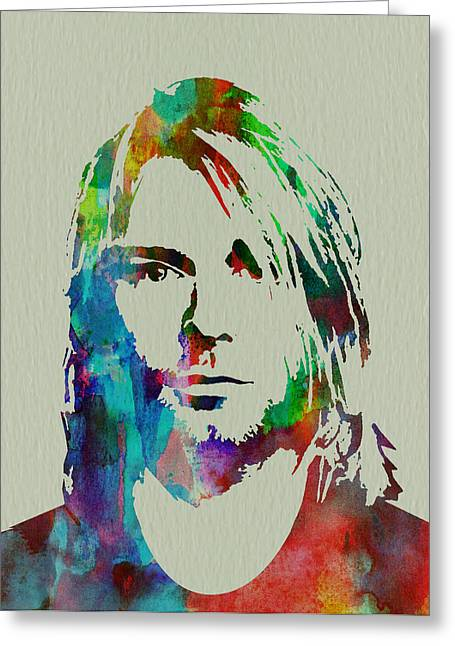 Rock Paintings Greeting Cards - Kurt Cobain Nirvana Greeting Card by Naxart Studio