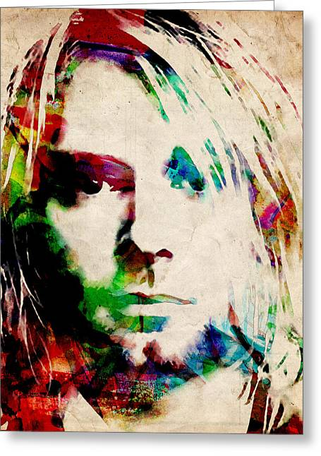Musician Greeting Cards - Kurt Cobain Urban Watercolor Greeting Card by Michael Tompsett