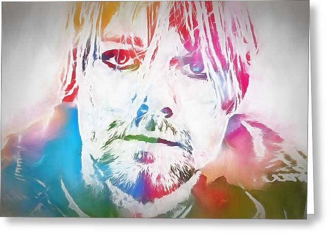 Fame Mixed Media Greeting Cards - Kurt Cobain Watercolor Greeting Card by Dan Sproul