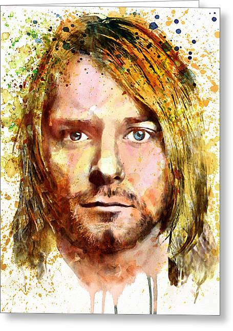 Home Decor Posters Mixed Media Greeting Cards - Kurt Cobain watercolor Greeting Card by Marian Voicu