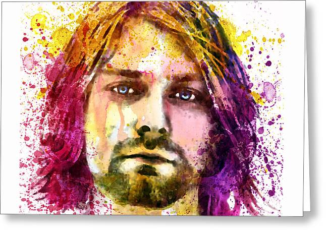 Paiting Greeting Cards - Kurt Cobain watercolor painting Greeting Card by Marian Voicu