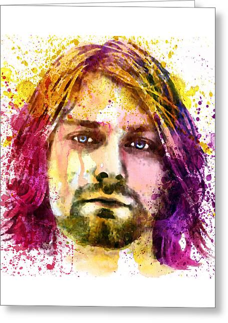 Sizes Greeting Cards - Kurt Cobain watercolor painting Greeting Card by Marian Voicu