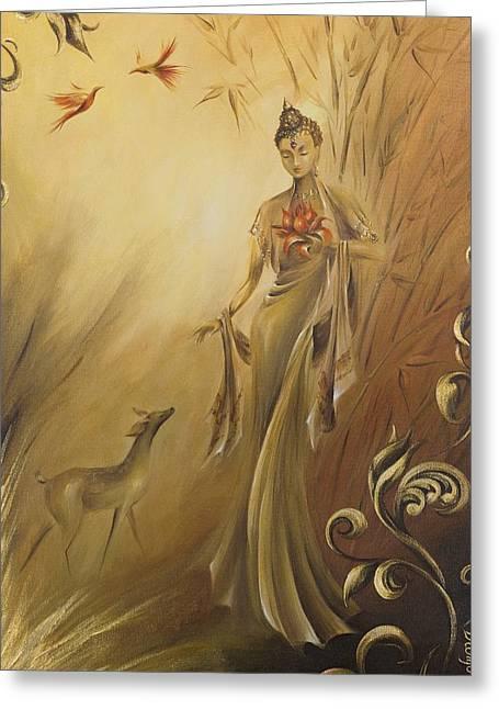 Quan Yin Greeting Cards - Kwan Yins Garden Greeting Card by Dina Dargo
