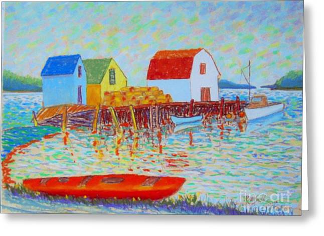 Shack Pastels Greeting Cards - Kyak at Blue Rocks Greeting Card by Rae  Smith