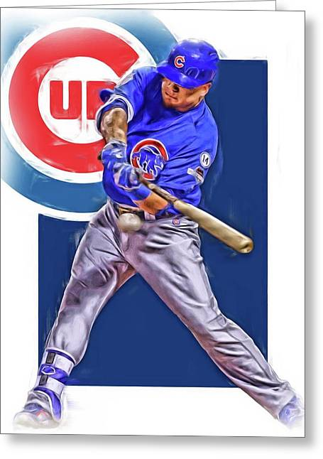 Kyle Schwarber Chicago Cubs Oil Art Greeting Card by Joe Hamilton