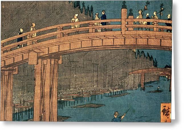Kyoto bridge by moonlight Greeting Card by Hiroshige