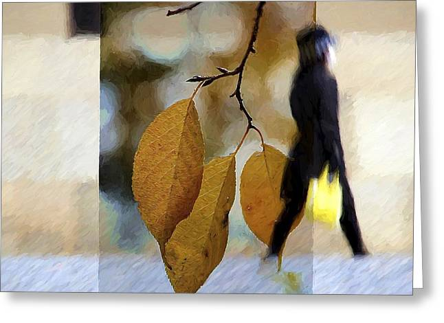 Kyoto Digital Greeting Cards - Kyoto Girl with the Yellow Purse Abstract Greeting Card by Karen Jensen