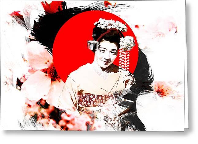 Kyoto Mixed Media Greeting Cards - Kyoto Japan Girl Greeting Card by Kamil Tokarski