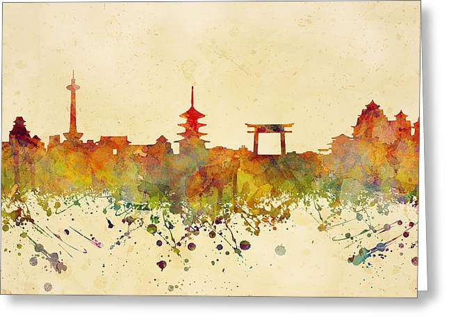 Kyoto Mixed Media Greeting Cards - Kyoto Japan Skyline Greeting Card by JW Digital Art
