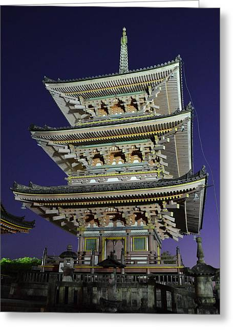 Architectural Treasure Greeting Cards - Kyoto Shrine at Night Greeting Card by Corinne Rhode