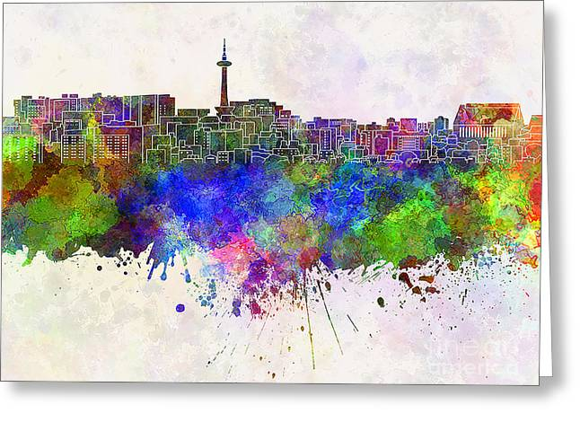 Kyoto Skyline In Watercolor Background Greeting Card by Pablo Romero