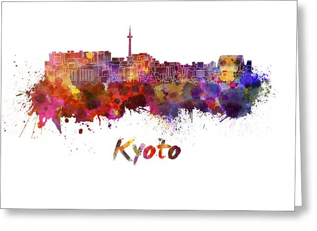 Kyoto Skyline In Watercolor Greeting Card by Pablo Romero