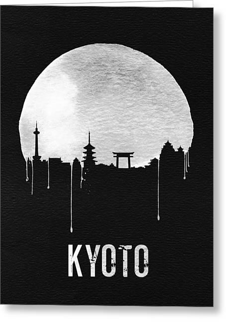 Kyoto Skyline Red Greeting Card by Naxart Studio