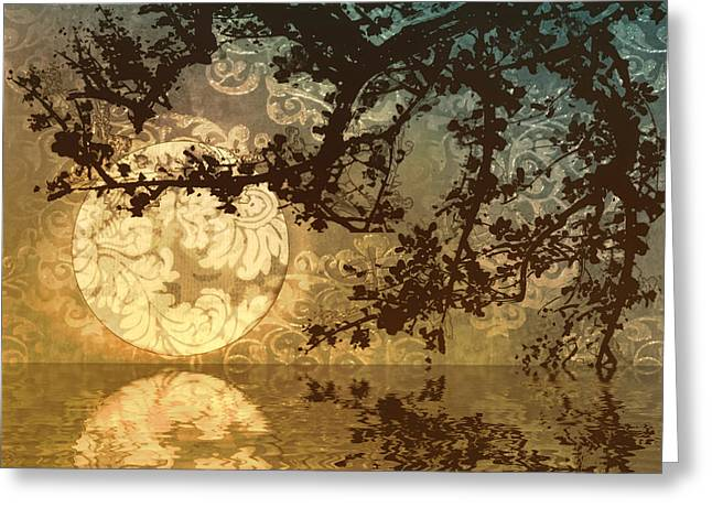 Reflection On Pond Greeting Cards - Kyoto Sun Greeting Card by Mindy Sommers