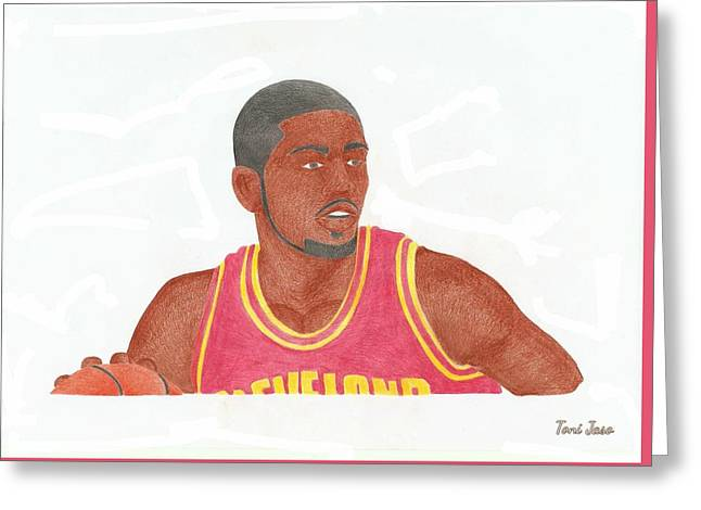 Slam Drawings Greeting Cards - Kyrie Irving Greeting Card by Toni Jaso