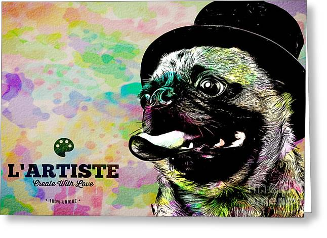 Pug Posters Greeting Cards - L Artiste Pug Greeting Card by Edward Fielding