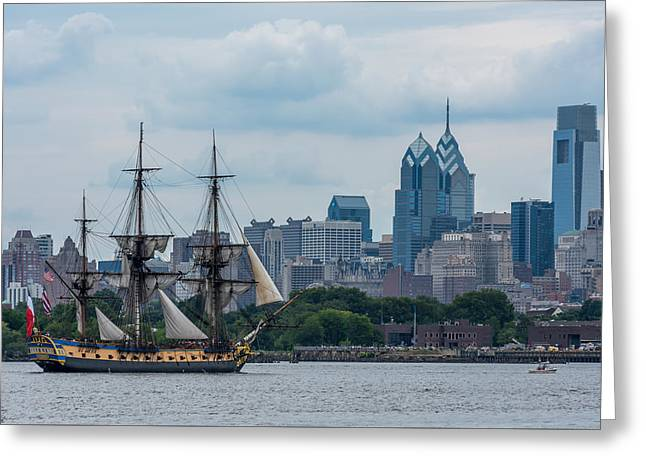 Tall Ships Greeting Cards - L Hermione Philadelphia Skyline Greeting Card by Terry DeLuco