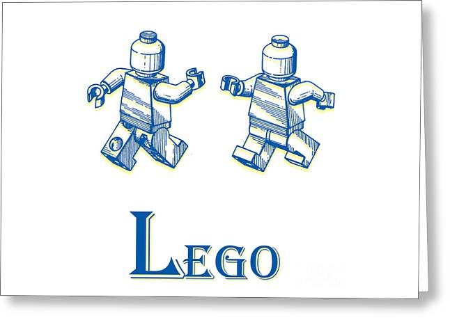 Minifig Greeting Cards - L is for Lego Greeting Card by Edward Fielding