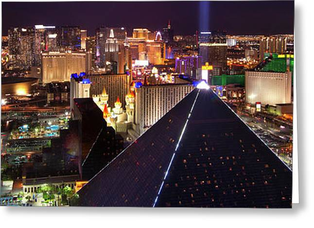 Vegas Lights Greeting Card by Mikes Nature