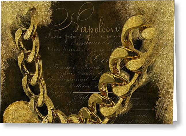 Napoleons Gold, Glitter, Brown, Monochrome Greeting Card by Tina Lavoie