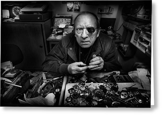 Watchmaker Greeting Cards - L\'orologiaio - Mr. Domenico... Greeting Card by Antonio Grambone