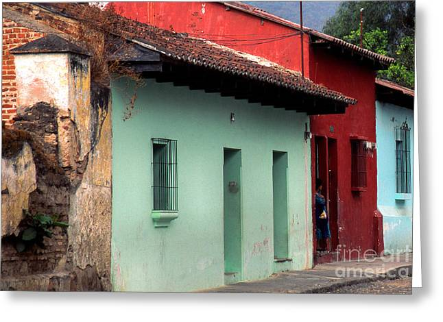 Brightly Colored Greeting Cards - La Antigua Guatemala Street Greeting Card by Thomas R Fletcher