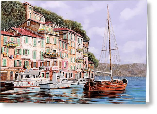 Seascape Paintings Greeting Cards - La Barca Rossa Alla Calata Greeting Card by Guido Borelli