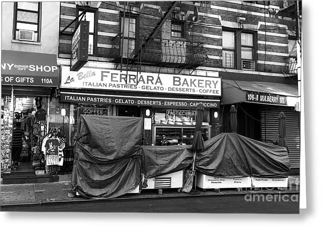 Bakery Poster Greeting Cards - La Bella Ferrara mono Greeting Card by John Rizzuto
