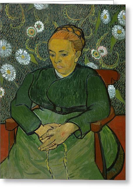 Portrait Of Woman Greeting Cards - La Berceuse Portrait of Madame Roulin Greeting Card by Vincent van Gogh
