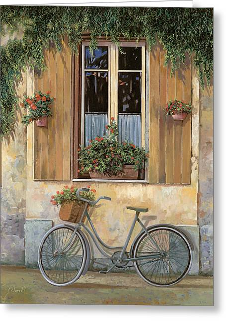 Reflections Paintings Greeting Cards - La Bici Greeting Card by Guido Borelli