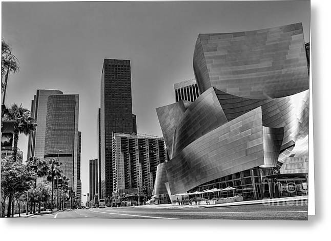 Stainless Steel Greeting Cards - LA Black n White Greeting Card by Chuck Kuhn