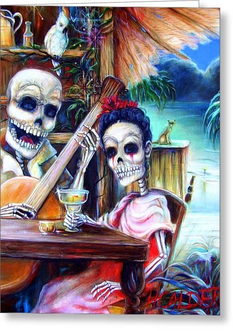 Skeleton Greeting Cards - La Borracha Greeting Card by Heather Calderon