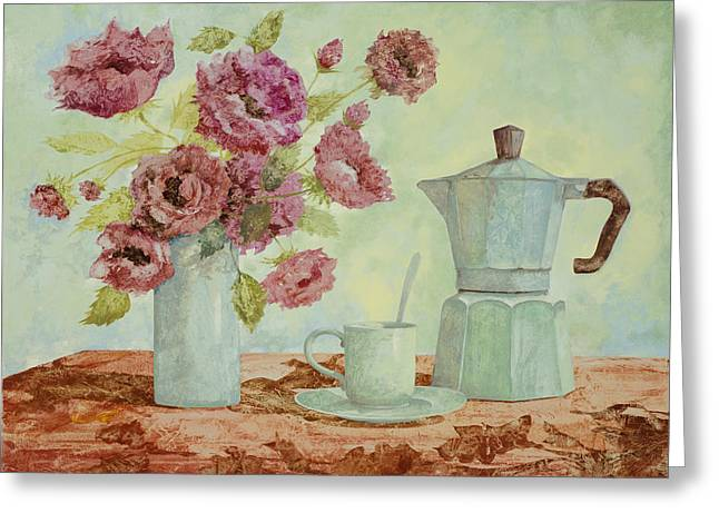 Still Life Glass Greeting Cards - La Caffettiera E I Fiori Amaranto Greeting Card by Guido Borelli