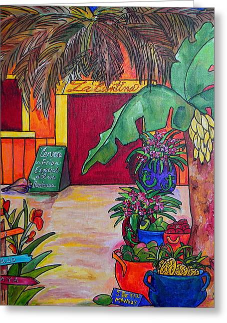 Tropical Flower Greeting Cards - La Cantina Greeting Card by Patti Schermerhorn