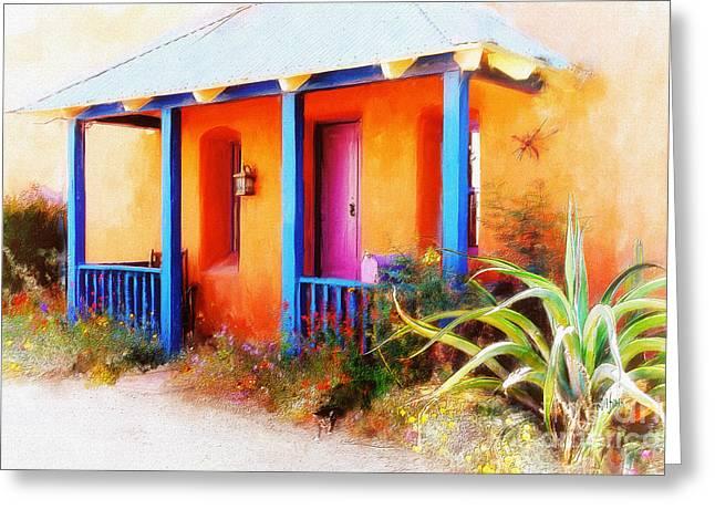 La Casa Del Gato Greeting Card by Lois Bryan