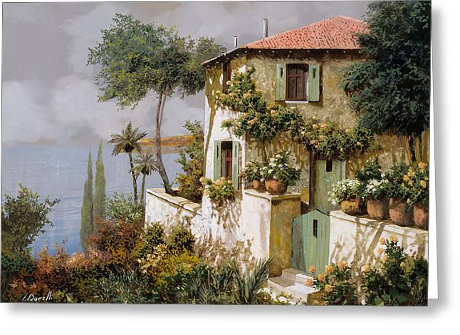 Lakescape Greeting Cards - La Casa Giallo-verde Greeting Card by Guido Borelli
