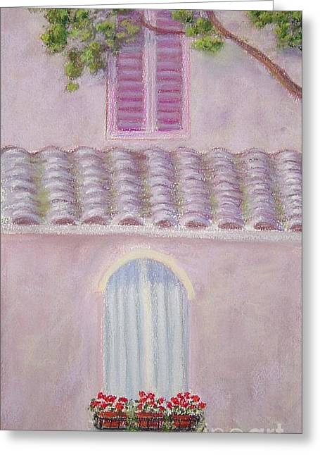 Flower Boxes Pastels Greeting Cards - La Casa Rosa lunga il Treve Greeting Card by Mary Erbert